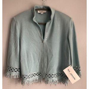 St John Evening Embellished Crop Jacket Size 6
